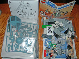 Revell Tie Interceptor and Lego Clone Walker contents