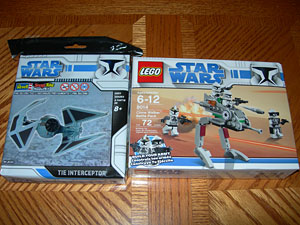Revell Tie Interceptor and Lego Clone Walker in package