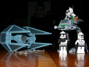 Revell Tie Interceptor and Lego Clone Walker